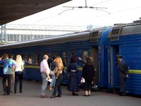 At the platform of Kyiv Railway Station